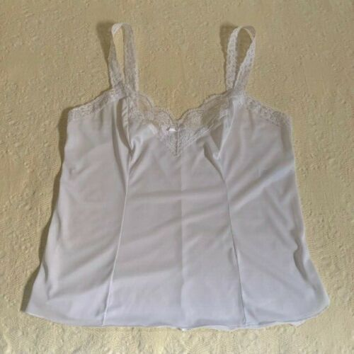 Vintage White Olga Camisole with Stretch Straps and Lace Front. Size XL