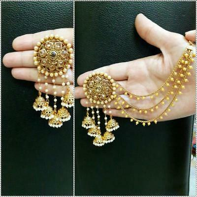 - Earring women Gold Plated Indian Bollywood Ethnic Bridal Jhumka Diwali VD