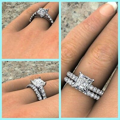 2.10 ct. Natural Princess Cut Pave Bridal Set - GIA Certified & Appraised