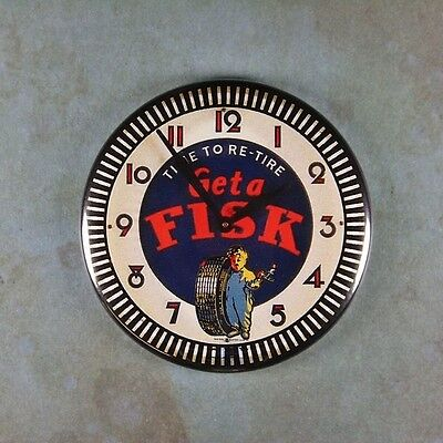 """Vintage Neon Advertising Clock Fridge Magnet 2 1/4"""" Get A Fisk Tire to Re-Tire"""