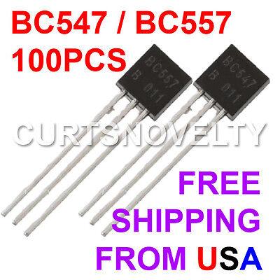 100pcs 50 Pair Bc547bc557 To-92 45v 0.1a Transistors Us Seller Bonus