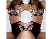 ** SUMMER 2017 ** New Bikini Floral Colorful Sexy Big Cup Size High Waisted Set