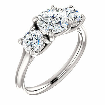 1.20 Ct Round Cut Diamond 3-Stone Engagement Ring G,VS1 GIA 3x EX Center 14K WG 1
