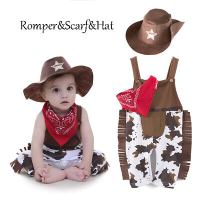 3pcs Infant Baby Boy Cowboy Outfit Set Dresses Romper Hat Formal Suit Wedding (Infant Cowboy Outfit)