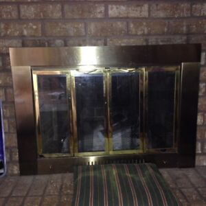 Standard Fireplace Screen with Bi-Fold Doors & Brass Frame