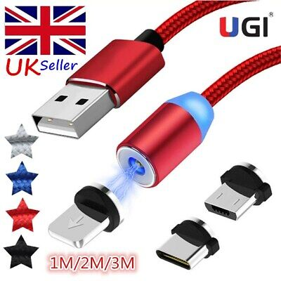 UK 360° Magnetic Type-C Micro USB IOS Charging Charge Cable For Samsung iPhone