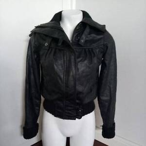 BNWT Black Feux Leather Womens Biker ZipUp Jacket Knitted Trimmin Canley Vale Fairfield Area Preview