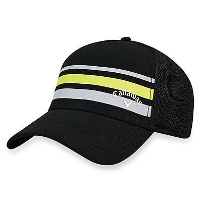 CALLAWAY GOLF STRIPE MESH CAP   HAT FITTED SZ  L XL BLACK YELLOW GRAY 18968 9b51b9c40f6c