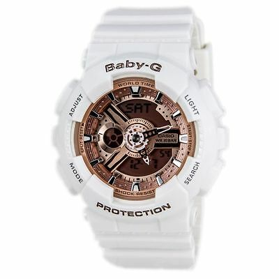Casio Baby G White Resin Rose Gold Dial Analog Digital Ladies Watch BA110-7A1