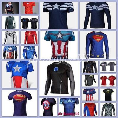 Man Marvel Heroes Costume T-shirt Superhero L/S Sleeve Running Tops Jersey - Superhero Running Clothes