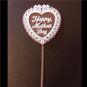 Happy Mothers Day Heart Pink Gift Pick - Pink  - Gift Cakes Flowers Picks