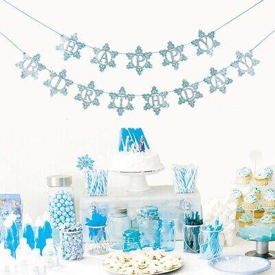 Winter Wonderland Birthday Decorations (Snowflake Bunting Birthday Party Decoration Banner Winter Wonderland Theme)