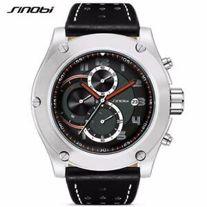 SINOBI Brand Sport Men watch Leather watchband Waterproof