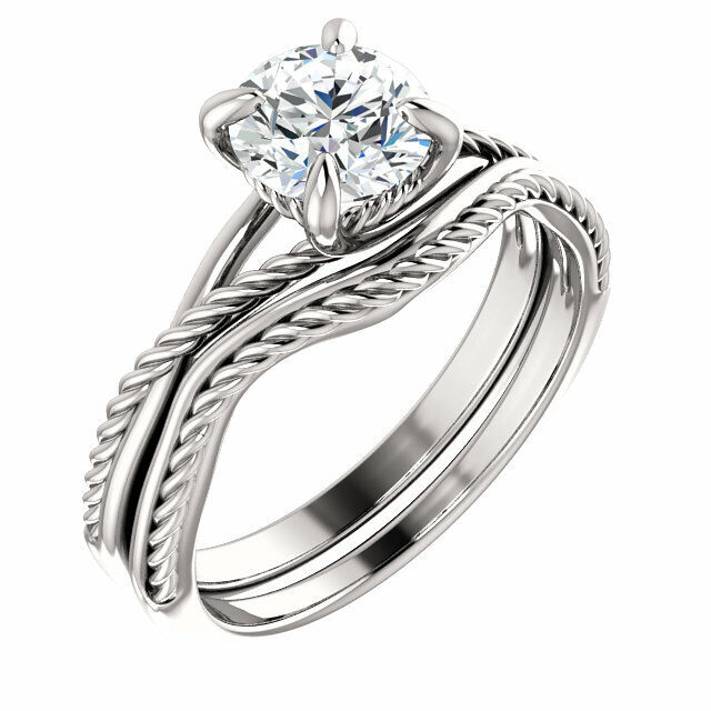 GIA 1.00 ct Round Diamond Solitaire Engagement 14k White Gold Ring & Band K SI2