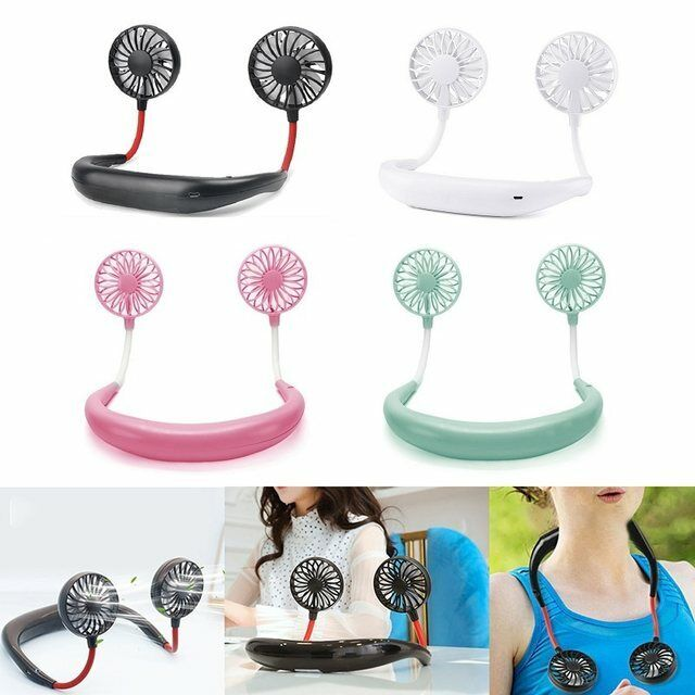 Portable USB Rechargeable Neckband Lazy Neck Hanging Dual Cooling Mini Fan Heating, Cooling & Air