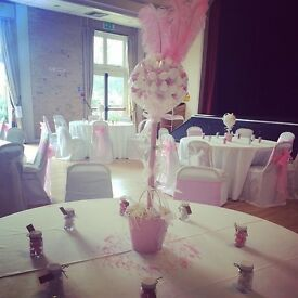 """Approx 90 White Chair Covers and 8 Circular White TableCloths 120"""""""
