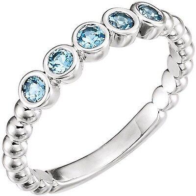 Ring Bezel Set Gem Bead - Genuine Aquamarine Gems Bezel Set Beaded Stackable Band Ring in 14K. White Gold