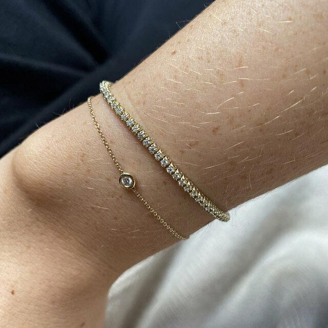 1.00 Carat Natural Diamond Tennis Bracelet G SI 14K Yellow Gold 7'' 92 stones 1