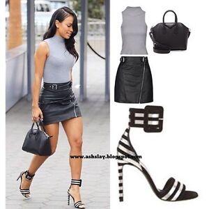 Sandales neuves à talons pour dames rayées noir et blanc