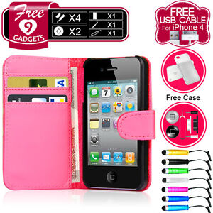 FLIP WALLET LEATHER CASE COVER FITS APPLE IPHONE 4