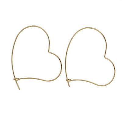 (Heart Wire Earrings Women Handmade Silver Gold or Black)