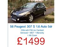 ARRIVING TODAY !!!! PEUGEOT 307 S 1.6 AUTOMATIC + FSH (inc Cambelt) + FREE WARRANTY + AA COVER + MOT