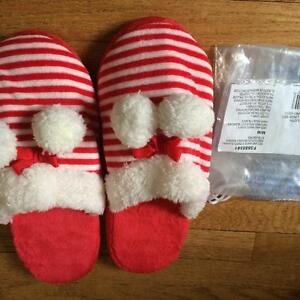 RED & WHITE STRIPED SLIPPERS - AVON - SIZE 7/8