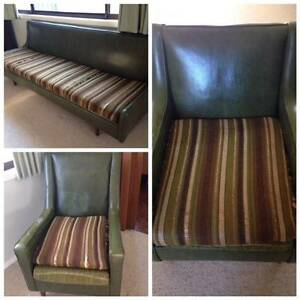 Vintage 60s 3 piece lounge suite, green vinyl. Revesby Heights Bankstown Area Preview
