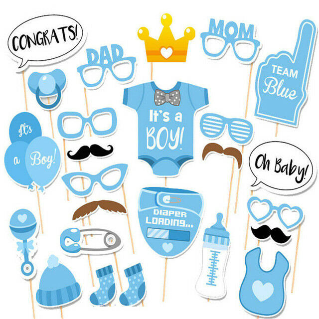 FOTOBOOTH Baby Shower Junge blau Babyparty Spiel Deko Dekoration Kinder Party 25
