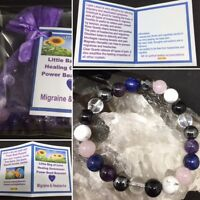 Migraine Power Bead Bracelet - Headache Crystals - Healing Gemstones Size Choice - soul cafe - ebay.co.uk