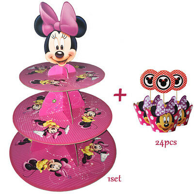 Minnie Mouse Cupcake Wrappers (Kids Birthday Party Supplies Minnie Mouse Cupcake Stand 24 Pcs Cupcake)