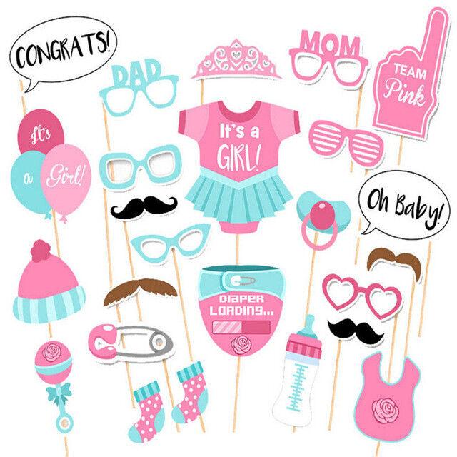 FOTOBOOTH Baby Shower Mädchen rosa Babyparty Deko Dekoration Kinder Party 25
