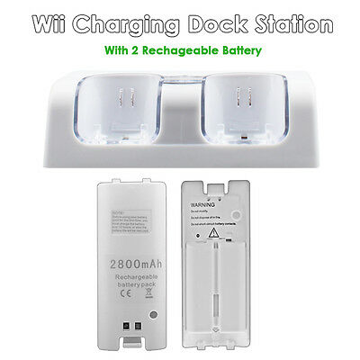 Wii Remote Controller Charger (Dual Nintendo Wii Remote Charger Charging Dock Station + 2 Rechargeable)