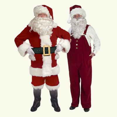 Professional Burgundy Velvet XL Santa Suit with Overalls (Costume With Overalls)