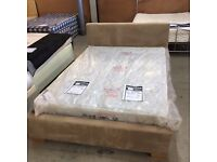 """4'6"""" Double bed frame in sand coloured fabric"""