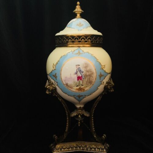 Vintage Sevres style Porcelain and Brass French Urn with Cap.