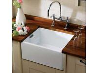 RAK 600 Gourmet Ceramic Belfast Butler Kitchen Sink 1.0 Reversible Bowl + Waste