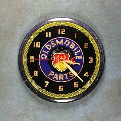 "Vintage Neon Advertising Clock Fridge Magnet 2 1/4"" Oldsmobile Car Parts 1940's"