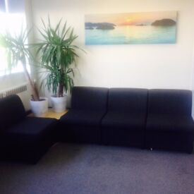 Office furniture ,including modular seating,chairs,filing cabinets ,desks,+ keyboards,desktops.