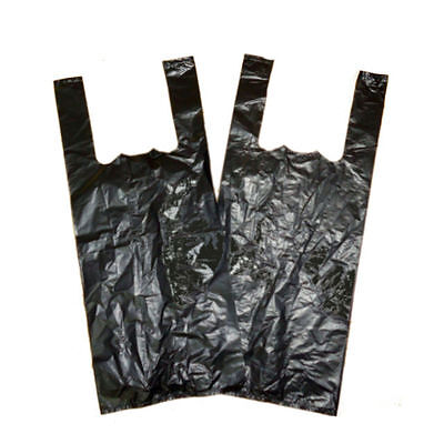 Bottle Black Vest Carrier Bags Cheapest On Ebay x 50