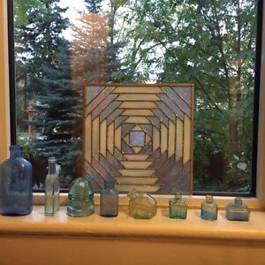 Modern geometric stained glass/leaded glass