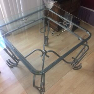 "Glass dining room table 48"" x 48"" (No chairs included)"