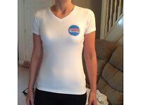 Ladies Retro Vintage TWA Trans World Airways White V Neck T-shirt - Size 10 *BRAND NEW*