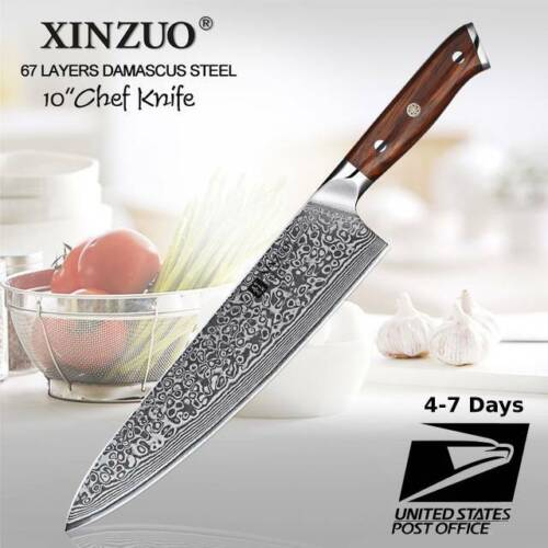 10 Inch Japanese Damascus Pattern Stainless Steel Chef Knife Excellent rosewood