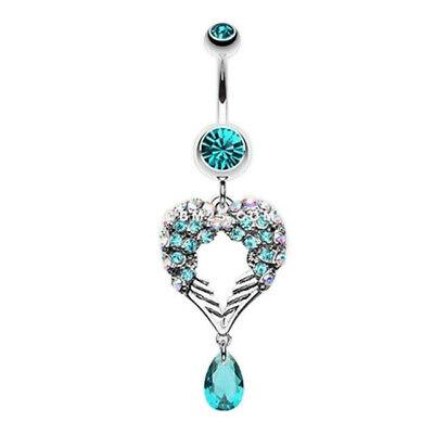 Fish-Heart Shape Crystal Belly Ring Dangle Navel Piercing Jewelry 316L Steek US Crystal Heart Dangle Belly Ring