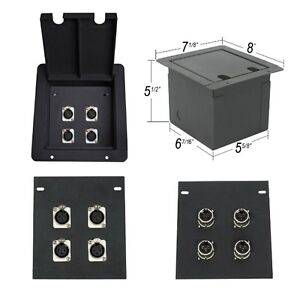 Elite core recessed metal stage floor box w 4 xlr female for Xlr floor box