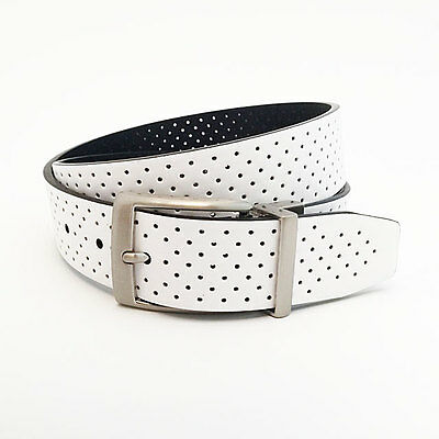 NIKE GOLF MEN'S PERFORATED REVERSIBLE BELT SIZE W36 (FITS 34) WHITE/BLACK 17249