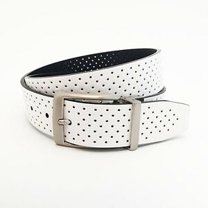 NIKE GOLF MEN'S PERFORATED REVERSIBLE BELT SIZE W34 (FITS 32) WHITE/BLACK 17248