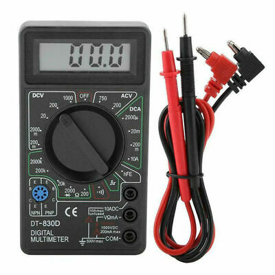 Digital Multimeter Ohm Voltmeter Ammeter Avo Meter Dt830d Test Leads Lcd