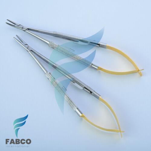 "2pcs TC Castroviejo Needle Holder 5.5"" STR CVD Plier Dental Surgical Instruments"